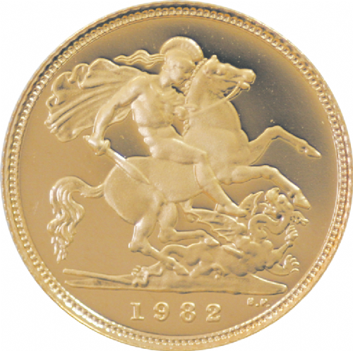 Elizabeth II Mature Head Half Sovereig 1982